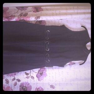 Dark denim skater dress.